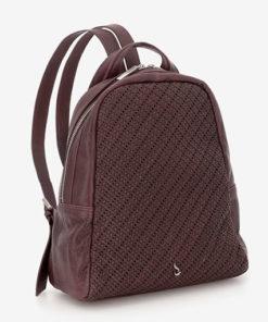 mochila de piel marron de la marca abaccino con trabajo artesanal y detalle
