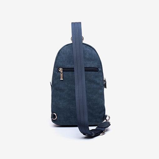 mochila de una sola asa de la marca abaccino color azul parte trasera