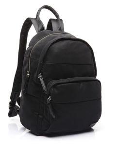 mochila trendy hirundo de la marca abaccino en negro con tres espacios de almacenamiento, sencilla con diseño moderno