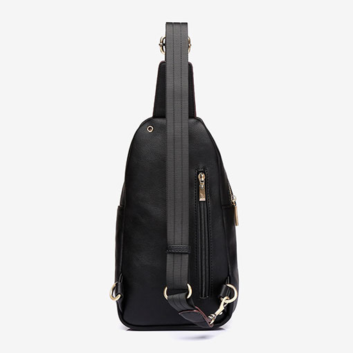 mochila una sola asa en color negro de la marca abaccino parte trasera