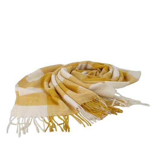 pasmina bicolor con cuadros sencillos de la marca zarucho en color amarillo