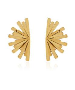 pendientes con forma de abanico pegados a la oreja en color dorado de la marca anartxy