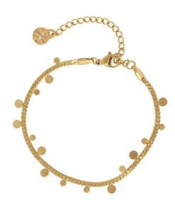 pulsera de cadena con chapitas en color dorado de la marca anartxy