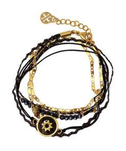 pulsera de doble vuelta en tonos negros y dorados de la marca anartxy