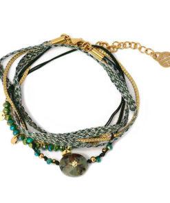 pulsera de doble vuelta con piedra central en color verde de la marca anartxy