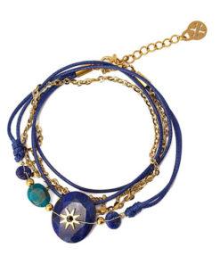 pulsera con piedra central en color azul de la marca anartxy