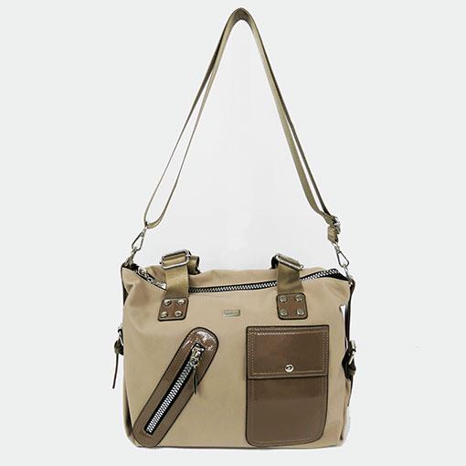 asa larga del bolso engomado en color beige de la marca noco complementos