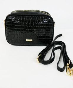 bandolera de cocodrilo en charol en color negro de la marca noco complementos