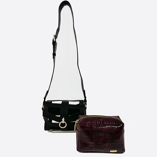 bolso desmontado con calado y anilla en color burgundy en tamaño pequeño de la marca noco complementos