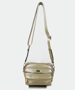 bolso metalizado en dorado de la marca noco complementos