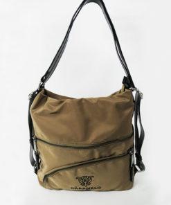 bolso / mochila en color camel de la colección lucía de la marca caramelo