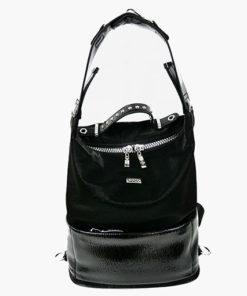 bolso mochila con texturas y tachuelas en color negro de la marca noco complementos