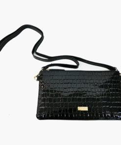 bolso pequeño de cocodrilo en charol en color negro de la marca noco complementos