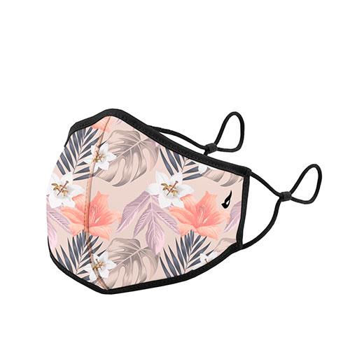 mascarilla homologada de la marca abbacino con estampado de flores en color lila