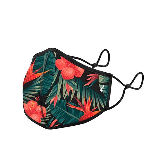 mascarilla homologada de la marca abbacino con estampado de flores tropical