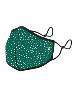 mascarilla homologada de la marca abbacino con estampado de puntos verde