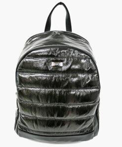 mochila acolchada de efecto plumas en color negro de la marca noco complementos