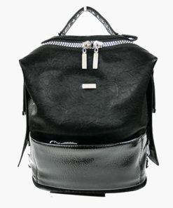 mochila de texturas y tachuelas en color negro de la marca noco complementos