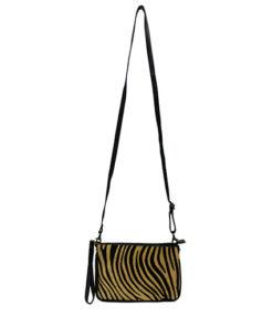 bandolera de piel con estampado de cebra en color beige y negro