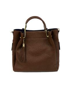 bolso cuadrado de piel en color marrón