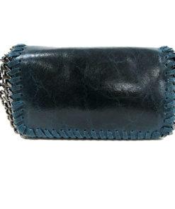 bolso de grieta azul en piel