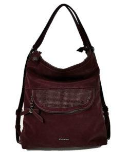 bolso - mochila en color granate con chapitas centrales de la marca privata