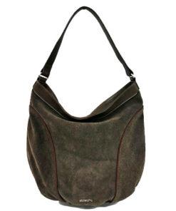 bolso de serraje de la marca abbacino en color marrón oscuro