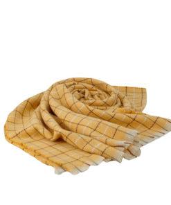 bufanda de cuadros y rayas de colores en tonos amarillos de la marca zarucho