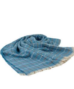 bufanda de cuadros y rayas de colores en tonos azules de la marca zarucho