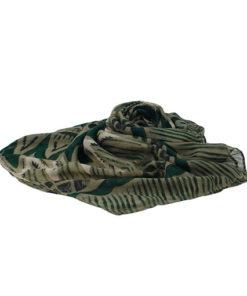 fular con estampado étnico-africano estilo bagamon con tela fina y en las mismas tonalidades verde