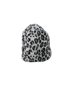 gorro moderno sin pompón de estampado animal print en color negro y blanco