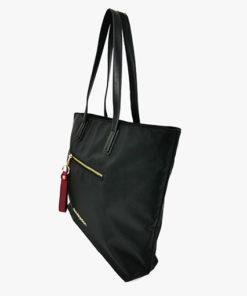 lateral bolso shopper alexandra en color negro de la marca don algodon