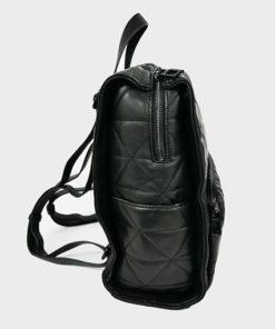 lateral de la mochila acolchada en color negro de la marca don algodón