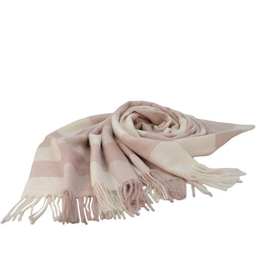 pasmina bicolor con cuadros sencillos de la marca zarucho en color nude
