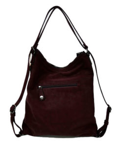 trasera del bolso - mochila en color granate con chapitas de la marca privata