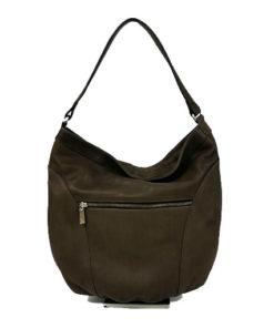 trasera del bolso de serraje de la marca abbacino en color marrón oscuro