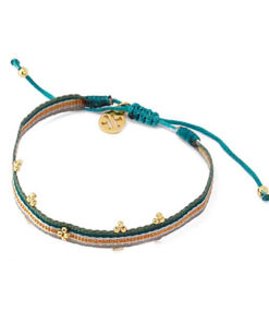 blue bracelet with flowers beads de la marca anartxy