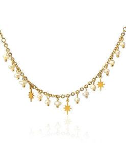 collar multi pearls necklace star de la marca anartxy