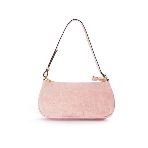 trasera del bolso baguette de piel print coco en color rosa de la marca martina k