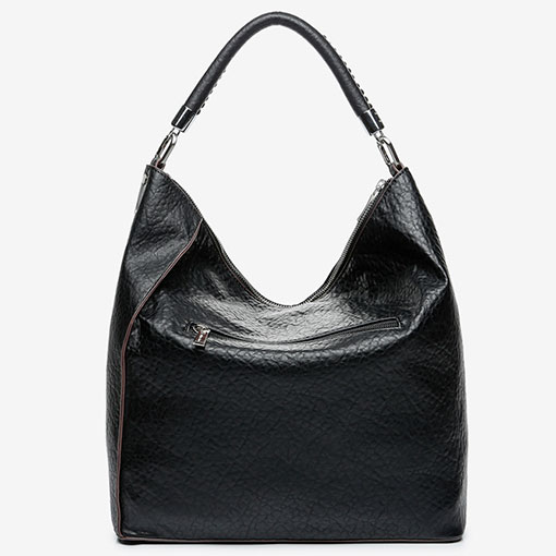 trasera del bolso hobo en color negro de la marca abbacino