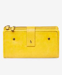 cartera amarilla de piel de la marca abbacino