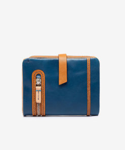 centro de la cartera pequeña de mujer en color azul de la marca abbacino