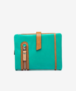 centro de la cartera pequeña de mujer en color verde de la marca abbacino