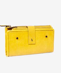 cartera piel amarilla de la marca abbacino