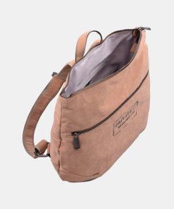 mochila taupe abierta de la marca privata