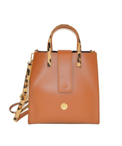 bolso de piel con asas de leopardo en color camel de la marca martina k