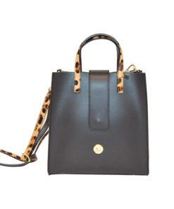 bolso de piel con asas de leopardo en color negro de la marca martina k