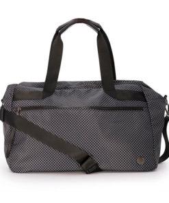 gran bolsa con estampado damero en color gris de la marca martina k