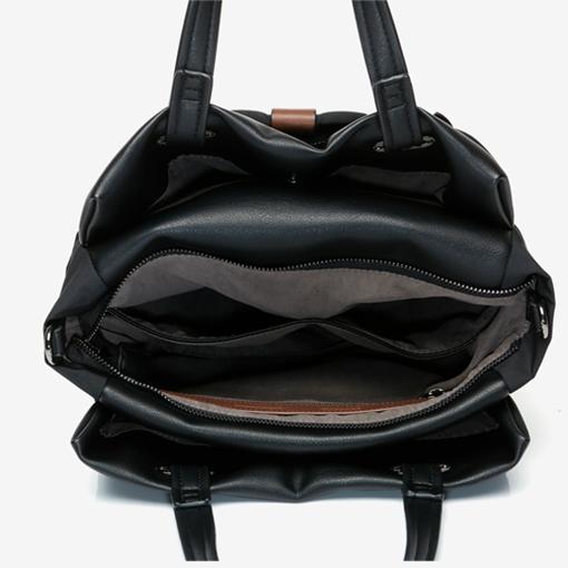 interior del bolso shopper abhimana en color negro de la marca abbacino