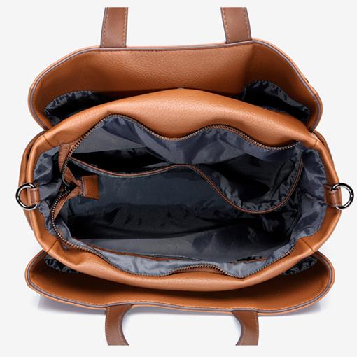 interior del bolso shopper de materiales reciclados de la marca abbacino